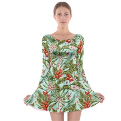 Green Leaves And Red Flowers Long Sleeve Skater Dress by goljakoff