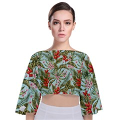Green Leaves And Red Flowers Tie Back Butterfly Sleeve Chiffon Top by goljakoff
