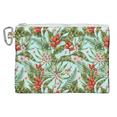 Green Leaves And Red Flowers Canvas Cosmetic Bag (xl) by goljakoff