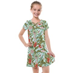 Green Leaves And Red Flowers Kids  Cross Web Dress