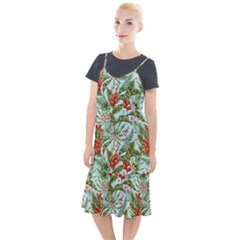 Green Leaves And Red Flowers Camis Fishtail Dress by goljakoff