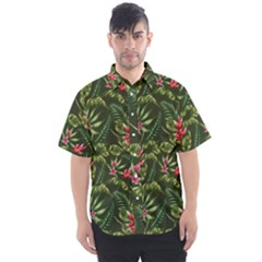 Green Leaves And Red Flowers Men s Short Sleeve Shirt