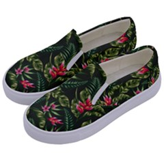 Green Leaves And Red Flowers Kids  Canvas Slip Ons by goljakoff