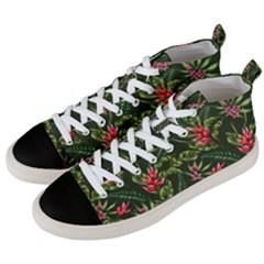 Green Leaves And Red Flowers Men s Mid Top Canvas Sneakers by goljakoff