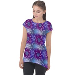 Snow White Blue Purple Tulip Cap Sleeve High Low Top