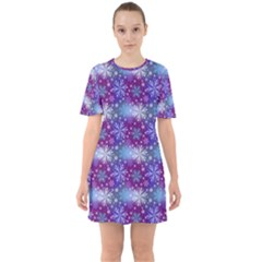 Snow White Blue Purple Tulip Sixties Short Sleeve Mini Dress