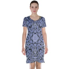 Tile Design Art Mosaic Pattern Short Sleeve Nightdress
