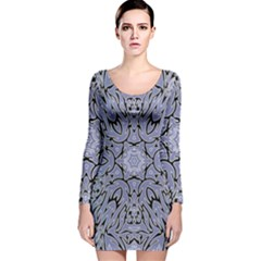 Tile Design Art Mosaic Pattern Long Sleeve Velvet Bodycon Dress