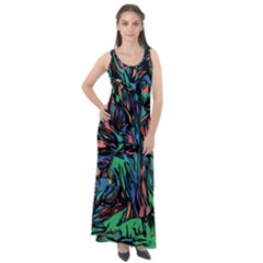 Tree Forest Abstract Forrest Sleeveless Velour Maxi Dress