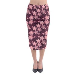 Cherry Blossoms Japanese Style Pink Midi Pencil Skirt