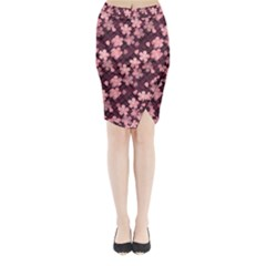 Cherry Blossoms Japanese Style Pink Midi Wrap Pencil Skirt