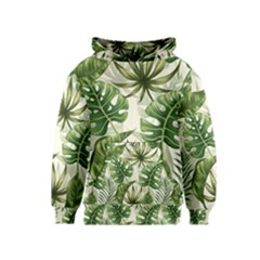 Green Monstera Leaves Kids  Pullover Hoodie by goljakoff