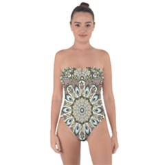 Seamless Pattern Abstract Mandala Tie Back One Piece Swimsuit
