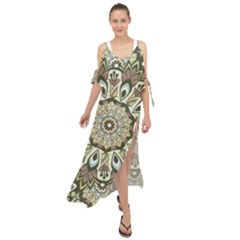 Seamless Pattern Abstract Mandala Maxi Chiffon Cover Up Dress