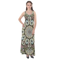 Seamless Pattern Abstract Mandala Sleeveless Velour Maxi Dress