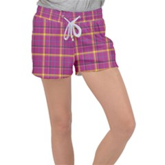 Plaid Tartan Background Wallpaper Women s Velour Lounge Shorts