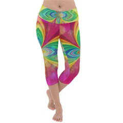 Color Abstract Form Ellipse Bokeh Lightweight Velour Capri Yoga Leggings