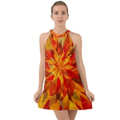 Flower Blossom Red Orange Abstract Halter Tie Back Chiffon Dress