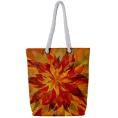 Flower Blossom Red Orange Abstract Full Print Rope Handle Tote (small)