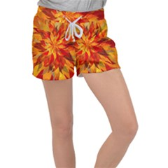 Flower Blossom Red Orange Abstract Women s Velour Lounge Shorts by Pakrebo