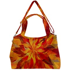 Flower Blossom Red Orange Abstract Double Compartment Shoulder Bag