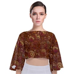 Gears Cogs Industrial Machinery Tie Back Butterfly Sleeve Chiffon Top