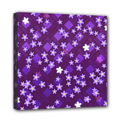 Textile Cross Pattern Square Mini Canvas 8  X 8  (stretched)