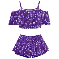Textile Cross Pattern Square Kids  Off Shoulder Skirt Bikini