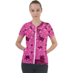 Cherry Blossoms Floral Design Short Sleeve Zip Up Jacket