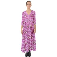 Paulownia Flowers Japanese Style Button Up Boho Maxi Dress