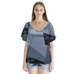 Abstract Modern Pattern Design V Neck Flutter Sleeve Top