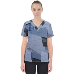 Abstract Modern Pattern Design Women s V Neck Scrub Top