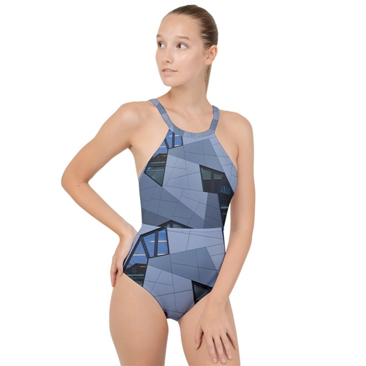 Abstract Modern Pattern Design High Neck One Piece Swimsuit