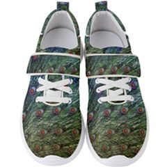 Peacock Feathers Colorful Feather Men s Velcro Strap Shoes