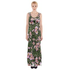 Pink Flowers Leaves Spring Garden Maxi Thigh Split Dress