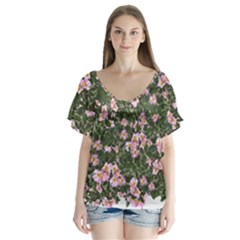 Pink Flowers Leaves Spring Garden V Neck Flutter Sleeve Top