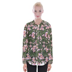 Pink Flowers Leaves Spring Garden Womens Long Sleeve Shirt