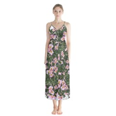 Pink Flowers Leaves Spring Garden Button Up Chiffon Maxi Dress by Pakrebo