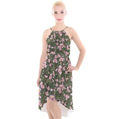Pink Flowers Leaves Spring Garden High Low Halter Chiffon Dress