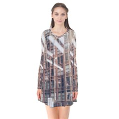 Chicago L Morning Commute Long Sleeve V-neck Flare Dress by Riverwoman