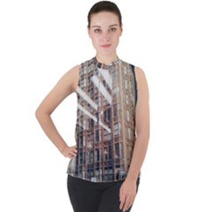 Chicago L Morning Commute Mock Neck Chiffon Sleeveless Top by Riverwoman