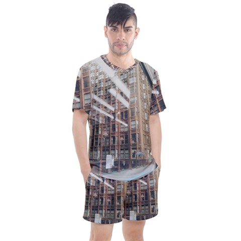 Chicago L Morning Commute Men s Mesh Tee And Shorts Set by Riverwoman