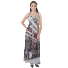 Chicago L Morning Commute Sleeveless Velour Maxi Dress by Riverwoman