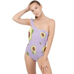 Avocado Green With Pastel Violet Background2 Avocado Pastel Light Violet Frilly One Shoulder Swimsuit by genx
