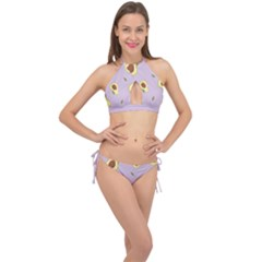 Avocado Green With Pastel Violet Background2 Avocado Pastel Light Violet Cross Front Halter Bikini Set by genx