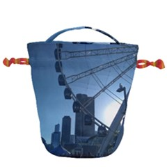 Navy Pier Chicago Drawstring Bucket Bag by Riverwoman