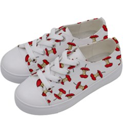 Red Apple Core Funny Retro Pattern Half On White Background Kids  Low Top Canvas Sneakers by genx