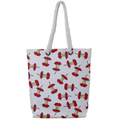 Red Apple Core Funny Retro Pattern Half On White Background Full Print Rope Handle Tote (small) by genx