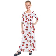 Red Apple Core Funny Retro Pattern Half On White Background Kids  Quarter Sleeve Maxi Dress by genx