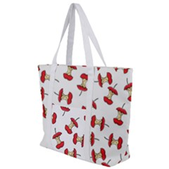 Red Apple Core Funny Retro Pattern Half On White Background Zip Up Canvas Bag